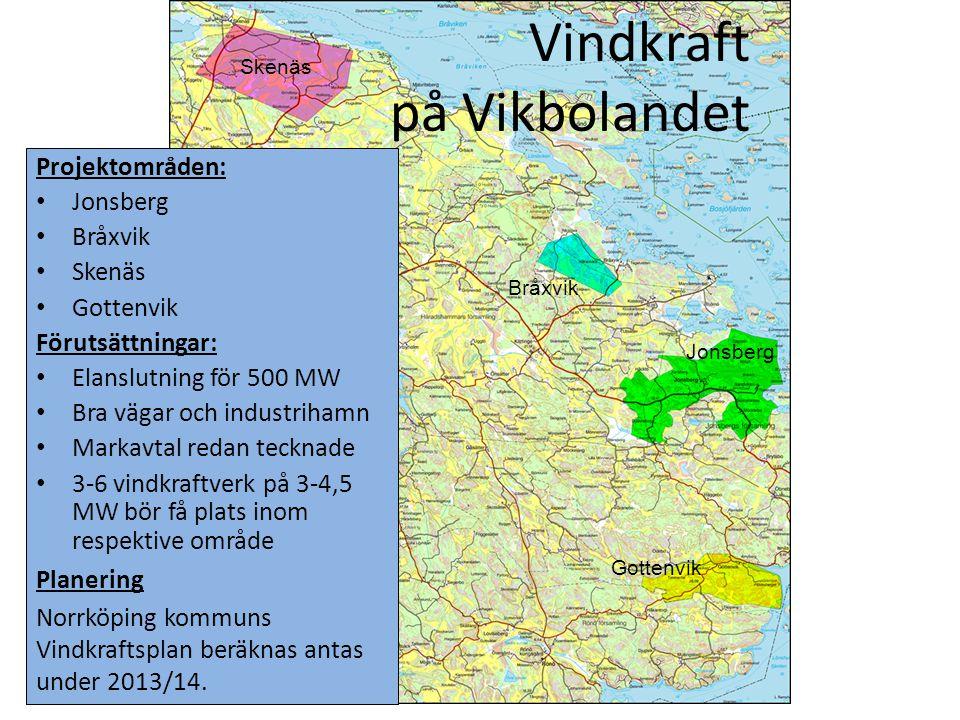Vindkraft på Vikbolandet Projektområden: • Jonsberg • Bråxvik • Skenäs • Gottenvik Förutsättningar: • Elanslutning för 500 MW • Bra vägar och industri