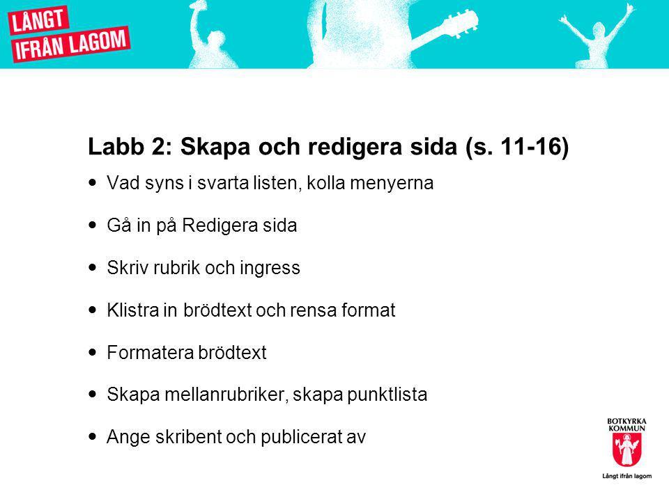 Labb 2: Skapa och redigera sida (s.