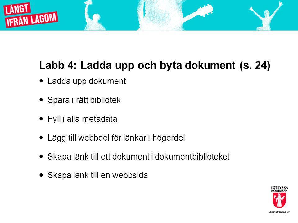 Labb 4: Ladda upp och byta dokument (s.