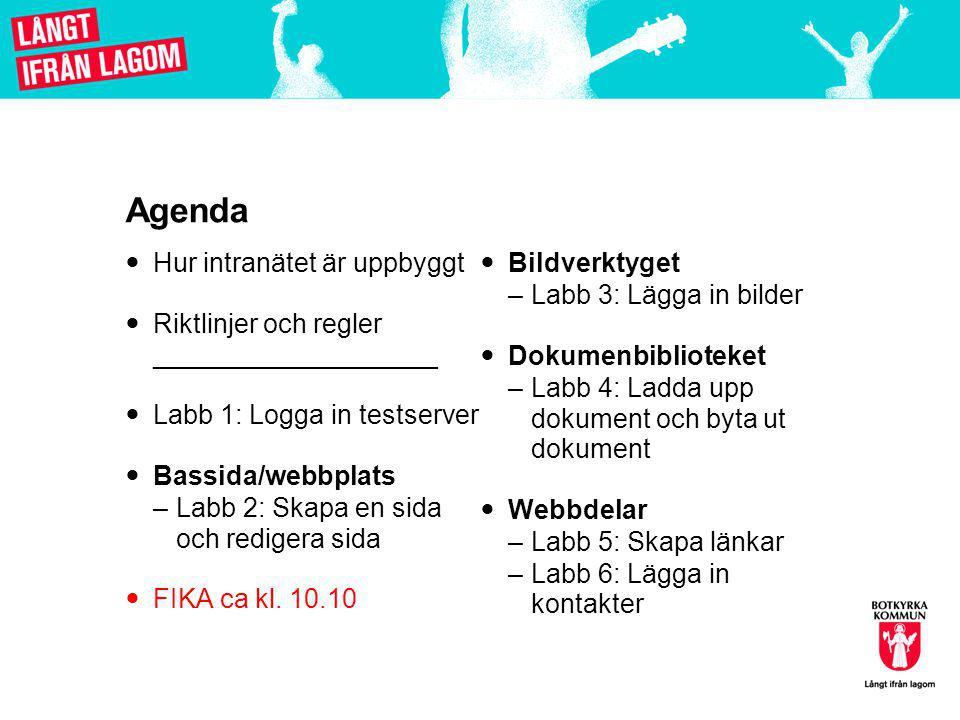 Agenda  Hur intranätet är uppbyggt  Riktlinjer och regler ___________________  Labb 1: Logga in testserver  Bassida/webbplats –Labb 2: Skapa en sida och redigera sida  FIKA ca kl.