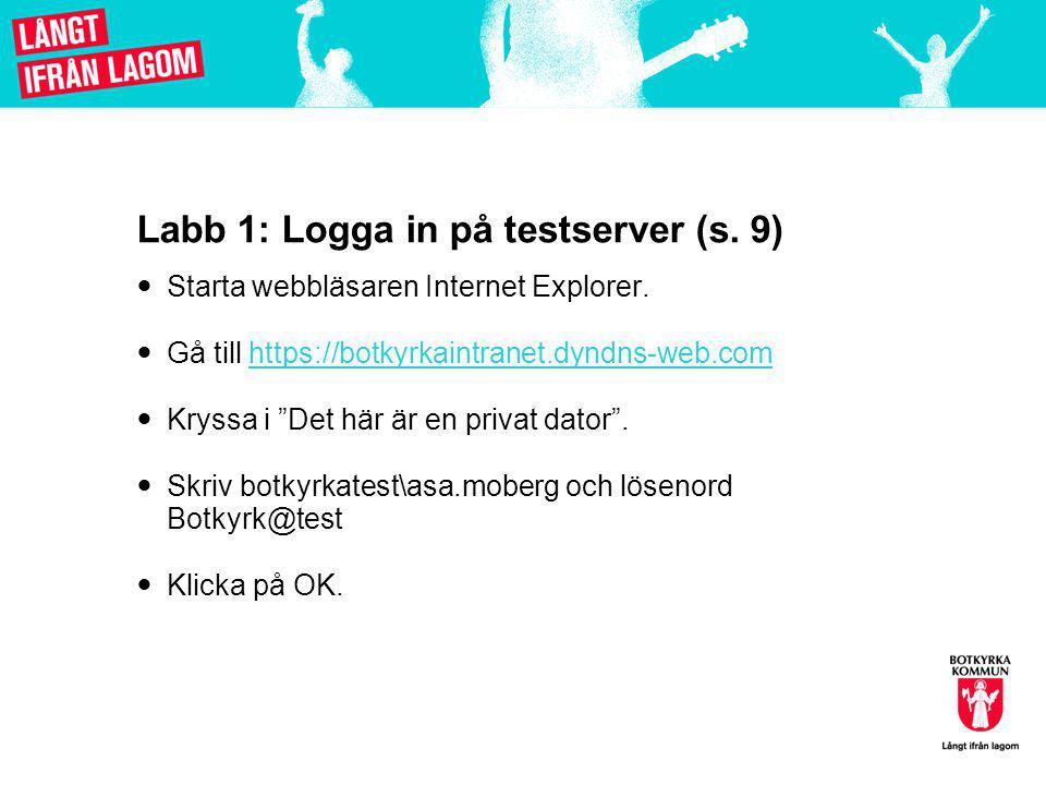 Labb 1: Logga in på testserver (s.9)  Starta webbläsaren Internet Explorer.