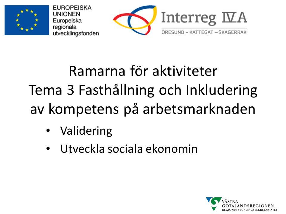 Ramarna för aktiviteter Tema 3 Fasthållning och Inkludering av kompetens på arbetsmarknaden • Validering • Utveckla sociala ekonomin