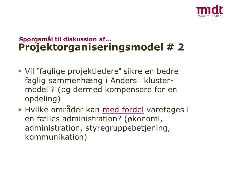 """ Vil """" faglige projektledere """" sikre en bedre faglig sammenhæng i Anders ' """" kluster- model """" ? (og dermed kompensere for en opdeling)  Hvilke områd"""