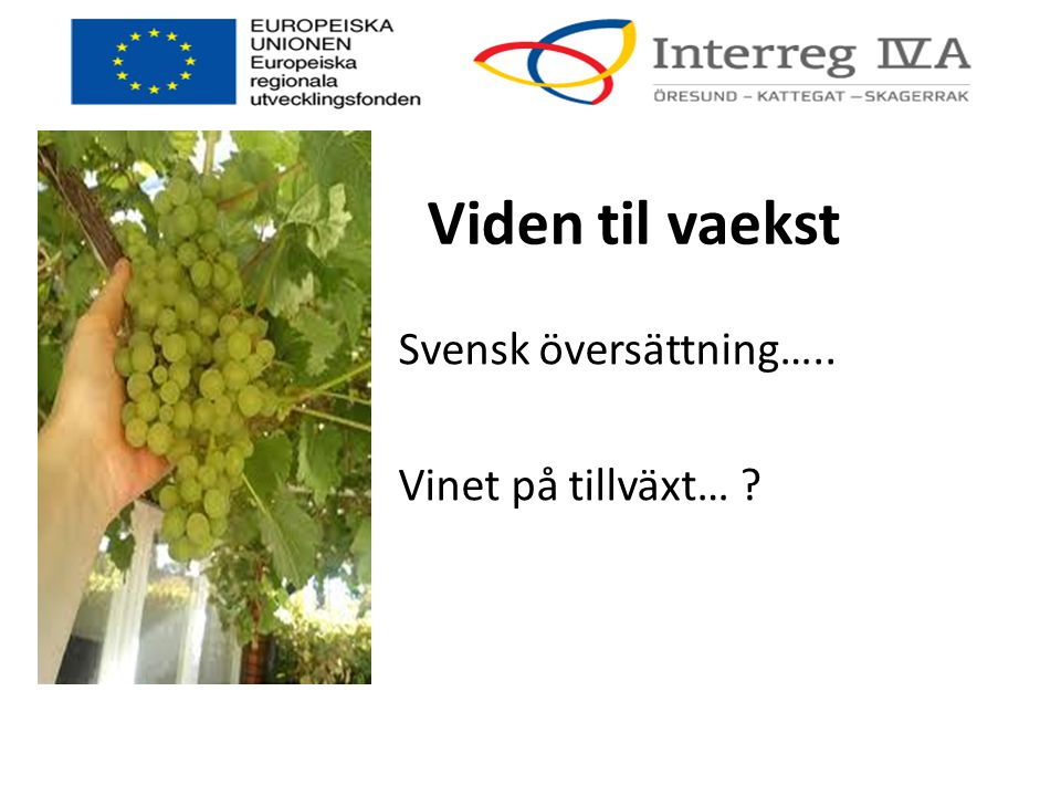 Viden til vaekst Svensk översättning….. Vinet på tillväxt… ?