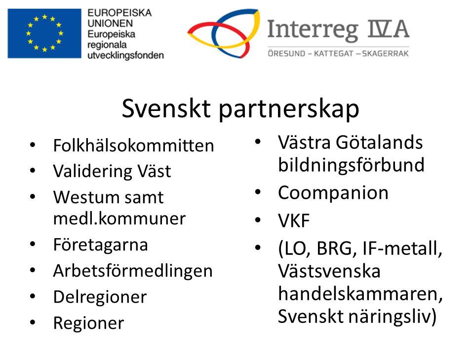 Svenskt partnerskap • Folkhälsokommitten • Validering Väst • Westum samt medl.kommuner • Företagarna • Arbetsförmedlingen • Delregioner • Regioner • V