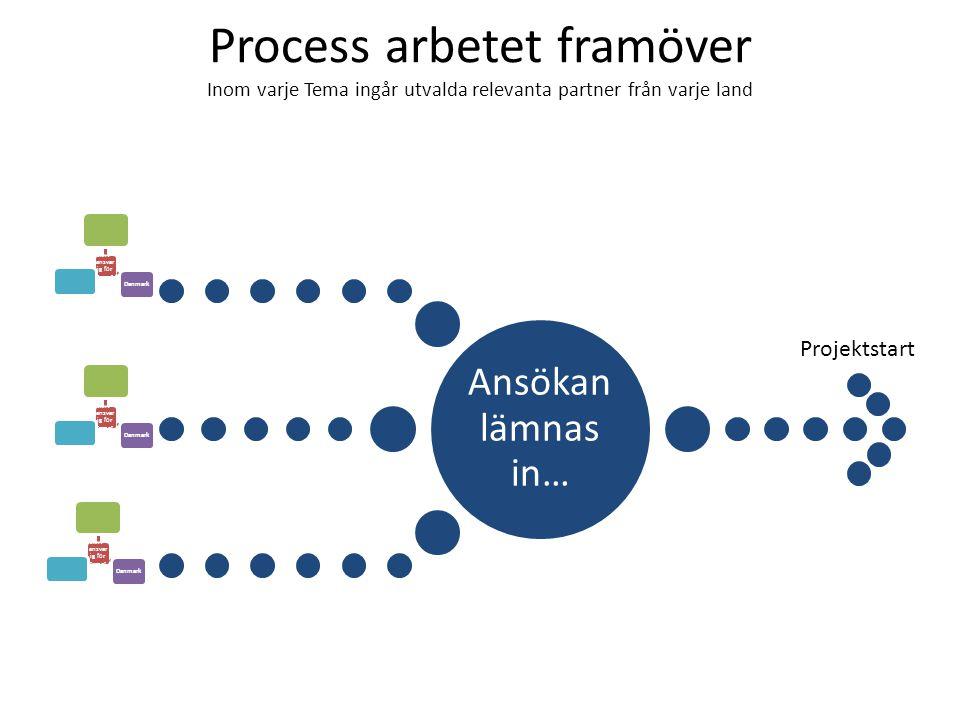 Ansökan lämnas in… Tema 1- Danmark skiv- ansvarig Tema 2 Sverige skriv- ansvarig Tema 3 Norge skriv- ansvarig Process arbetet framöver Inom varje Tema