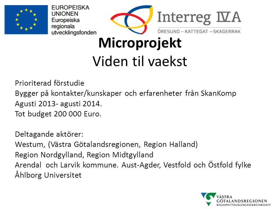Microprojekt Viden til vaekst Prioriterad förstudie Bygger på kontakter/kunskaper och erfarenheter från SkanKomp Agusti 2013- agusti 2014. Tot budget