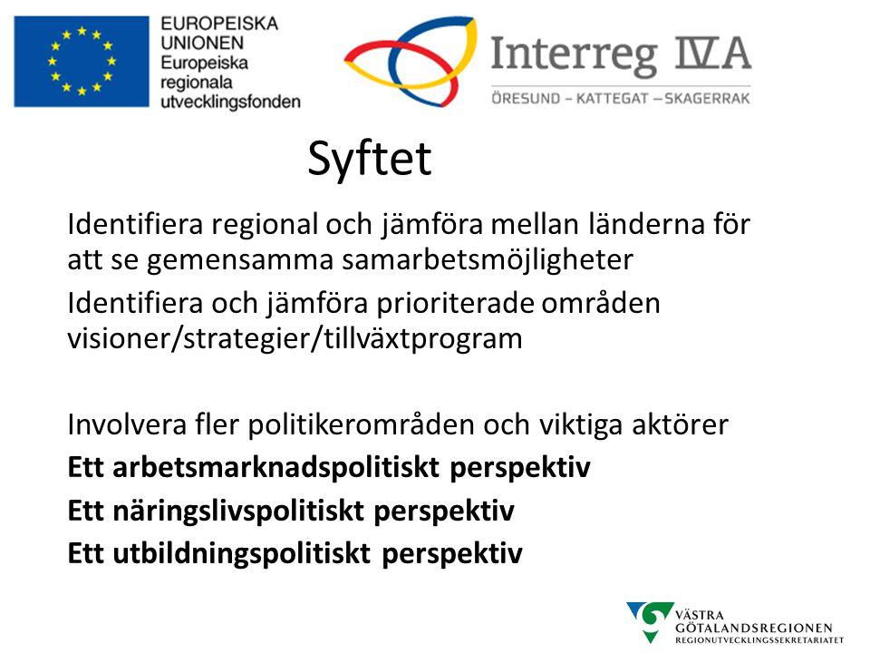 Syftet Identifiera regional och jämföra mellan länderna för att se gemensamma samarbetsmöjligheter Identifiera och jämföra prioriterade områden vision