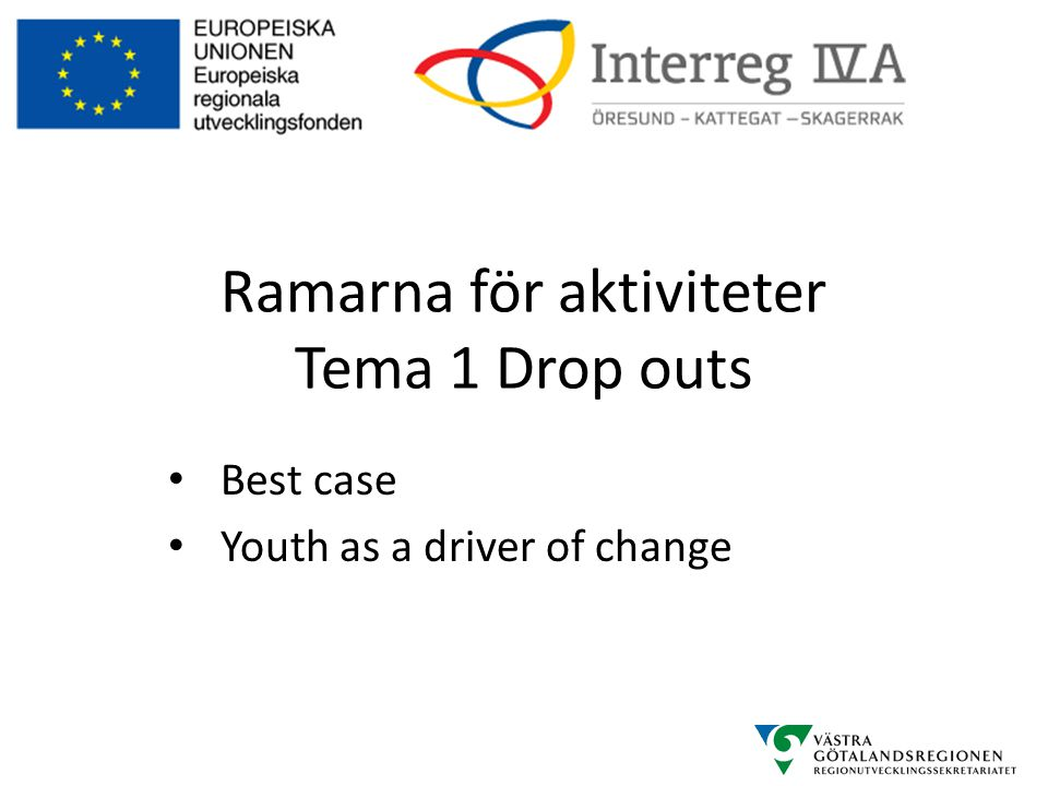 Ramarna för aktiviteter Tema 1 Drop outs • Best case • Youth as a driver of change