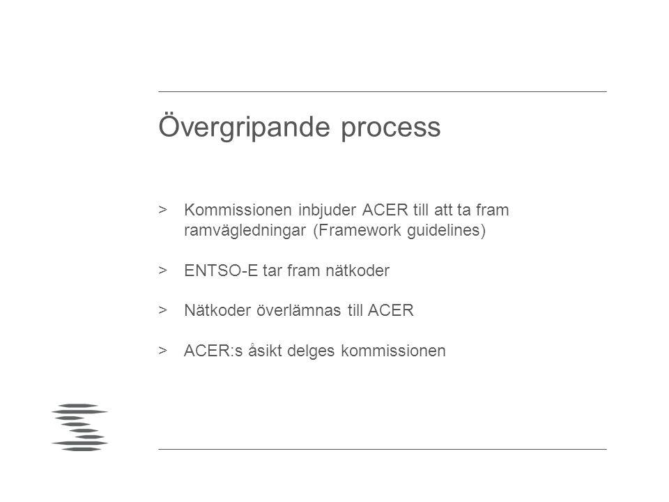 Övergripande process >Kommissionen inbjuder ACER till att ta fram ramvägledningar (Framework guidelines) >ENTSO-E tar fram nätkoder >Nätkoder överlämn