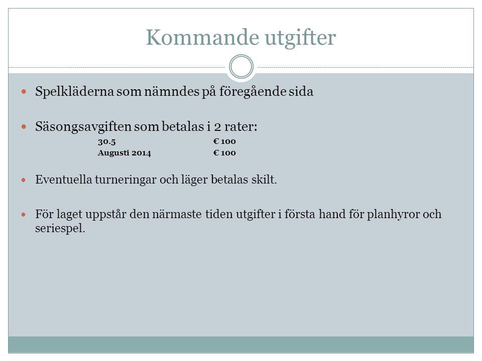 Kommande utgifter  Spelkläderna som nämndes på föregående sida  Säsongsavgiften som betalas i 2 rater: 30.5€ 100 Augusti 2014 € 100  Eventuella tur