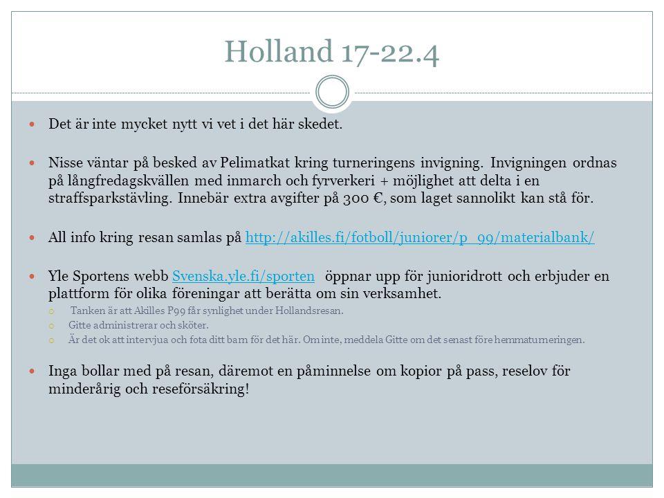 Holland 17-22.4  Det är inte mycket nytt vi vet i det här skedet.  Nisse väntar på besked av Pelimatkat kring turneringens invigning. Invigningen or