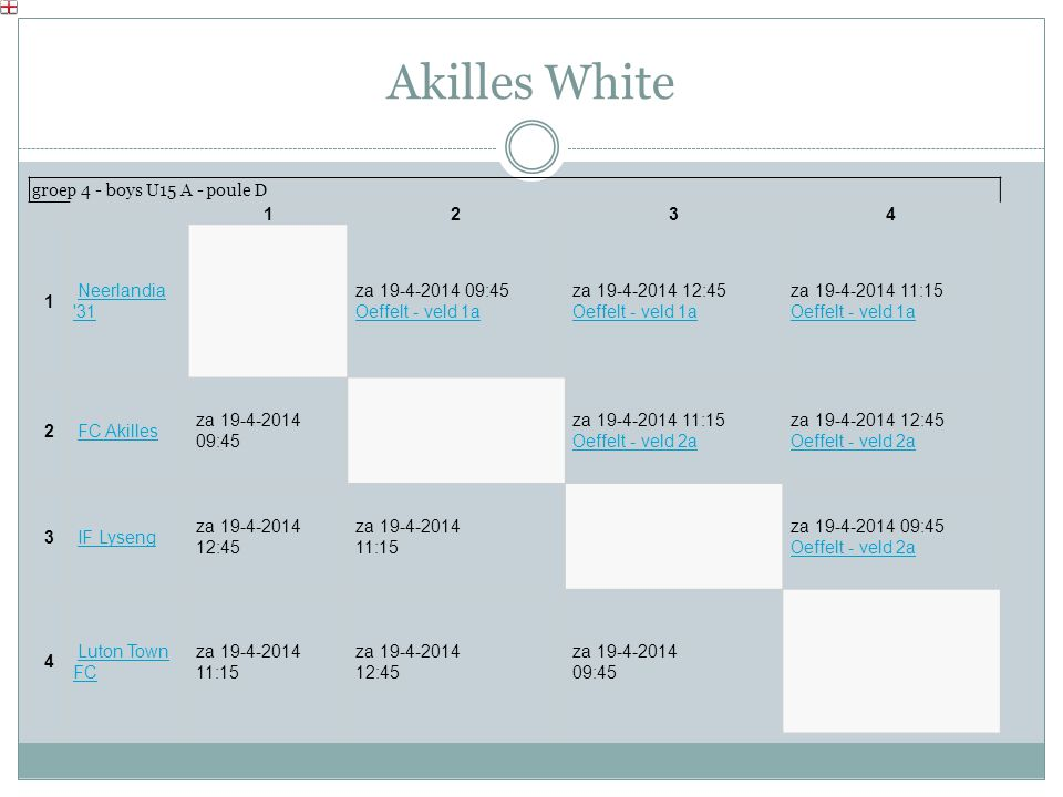 Akilles White groep 4 - boys U15 A - poule D 1234 1 Neerlandia '31 Neerlandia '31 za 19-4-2014 09:45 Oeffelt - veld 1a Oeffelt - veld 1a za 19-4-2014