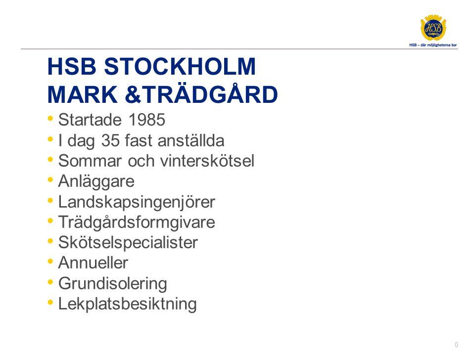 HSB STOCKHOLM MARK &TRÄDGÅRD • Startade 1985 • I dag 35 fast anställda • Sommar och vinterskötsel • Anläggare • Landskapsingenjörer • Trädgårdsformgiv