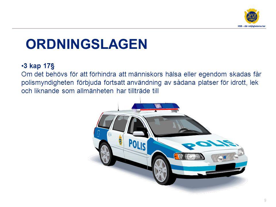 •3 kap 17§ Om det behövs för att förhindra att människors hälsa eller egendom skadas får polismyndigheten förbjuda fortsatt användning av sådana plats
