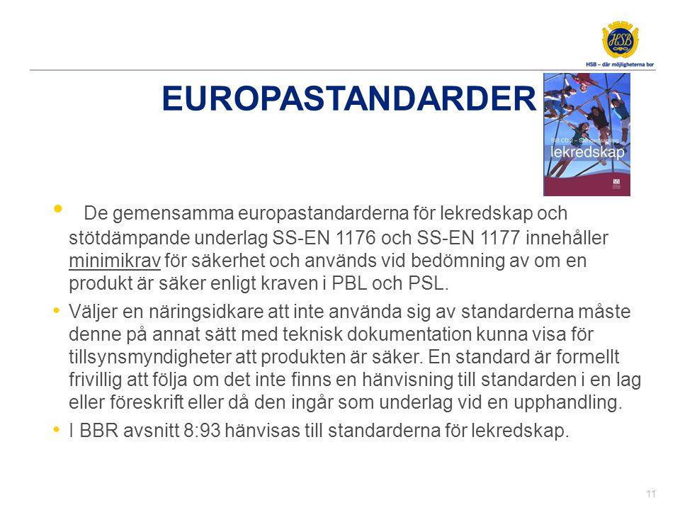 EUROPASTANDARDER • De gemensamma europastandarderna för lekredskap och stötdämpande underlag SS-EN 1176 och SS-EN 1177 innehåller minimikrav för säker