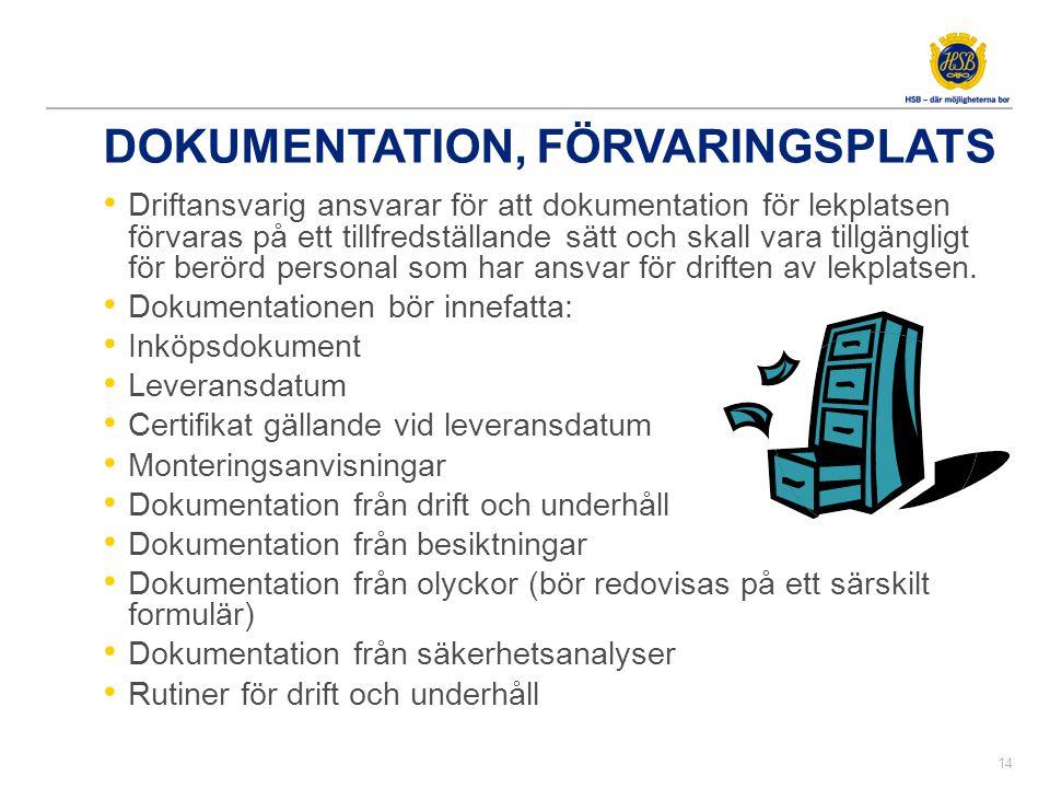 DOKUMENTATION, FÖRVARINGSPLATS • Driftansvarig ansvarar för att dokumentation för lekplatsen förvaras på ett tillfredställande sätt och skall vara til
