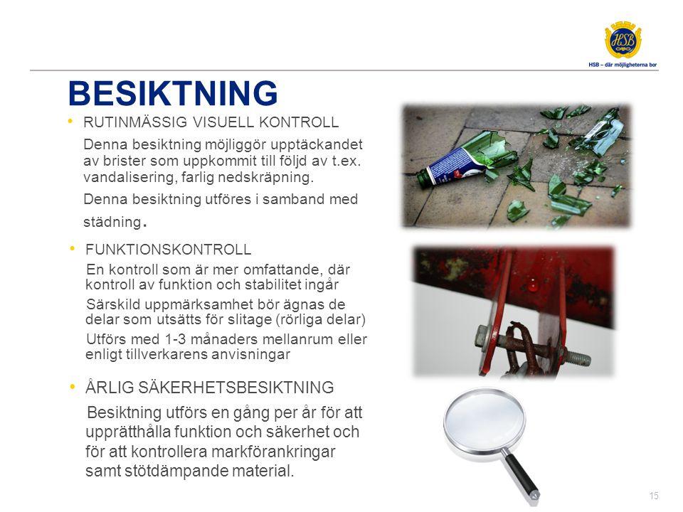 BESIKTNING • RUTINMÄSSIG VISUELL KONTROLL Denna besiktning möjliggör upptäckandet av brister som uppkommit till följd av t.ex. vandalisering, farlig n