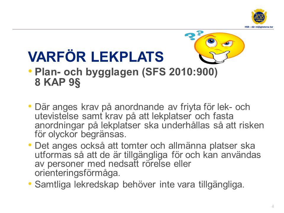 VARFÖR LEKPLATS • Plan- och bygglagen (SFS 2010:900) 8 KAP 9§ • Där anges krav på anordnande av friyta för lek- och utevistelse samt krav på att lekpl