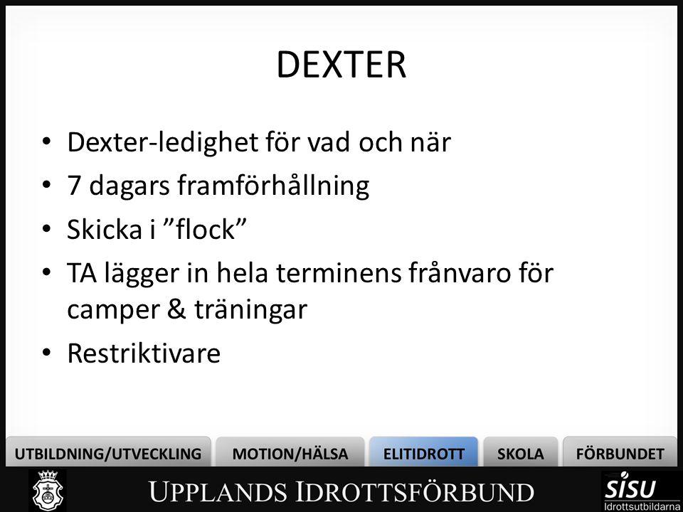"""DEXTER • Dexter-ledighet för vad och när • 7 dagars framförhållning • Skicka i """"flock"""" • TA lägger in hela terminens frånvaro för camper & träningar •"""