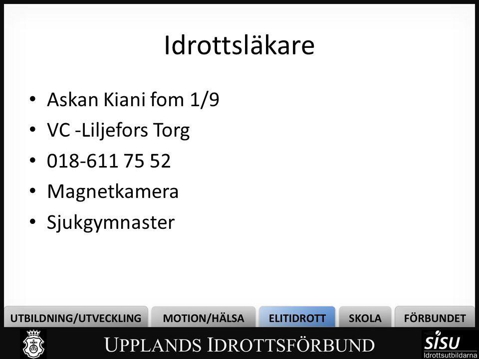 Idrottsläkare • Askan Kiani fom 1/9 • VC -Liljefors Torg • 018-611 75 52 • Magnetkamera • Sjukgymnaster