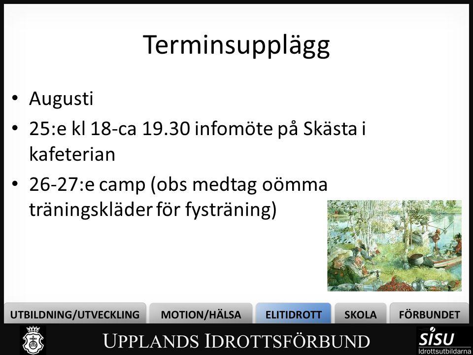 • Augusti • 25:e kl 18-ca 19.30 infomöte på Skästa i kafeterian • 26-27:e camp (obs medtag oömma träningskläder för fysträning) Terminsupplägg