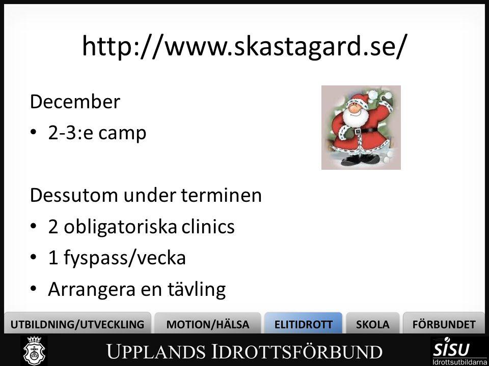 http://www.skastagard.se/ December • 2-3:e camp Dessutom under terminen • 2 obligatoriska clinics • 1 fyspass/vecka • Arrangera en tävling