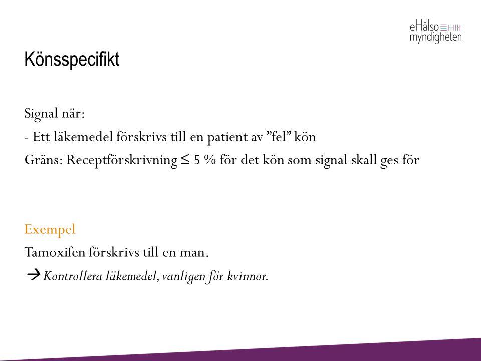 """Könsspecifikt Signal när: - Ett läkemedel förskrivs till en patient av """"fel"""" kön Gräns: Receptförskrivning ≤ 5 % för det kön som signal skall ges för"""