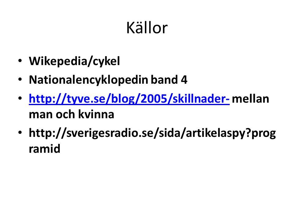 Källor • Wikepedia/cykel • Nationalencyklopedin band 4 • http://tyve.se/blog/2005/skillnader- mellan man och kvinna http://tyve.se/blog/2005/skillnade