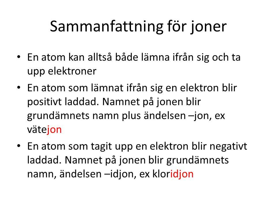 Sammanfattning för joner • En atom kan alltså både lämna ifrån sig och ta upp elektroner • En atom som lämnat ifrån sig en elektron blir positivt ladd
