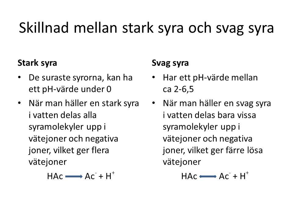Skillnad mellan stark syra och svag syra Stark syra • De suraste syrorna, kan ha ett pH-värde under 0 • När man häller en stark syra i vatten delas alla syramolekyler upp i vätejoner och negativa joner, vilket ger flera vätejoner HAc Ac - + H + Svag syra • Har ett pH-värde mellan ca 2-6,5 • När man häller en svag syra i vatten delas bara vissa syramolekyler upp i vätejoner och negativa joner, vilket ger färre lösa vätejoner HAc Ac - + H +