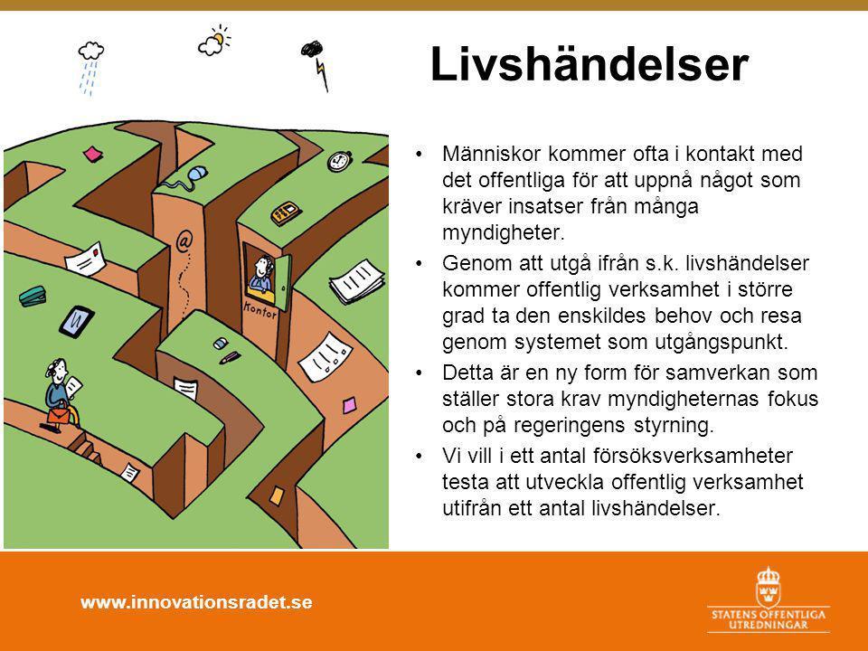 www.innovationsradet.se Livshändelser •Människor kommer ofta i kontakt med det offentliga för att uppnå något som kräver insatser från många myndigheter.