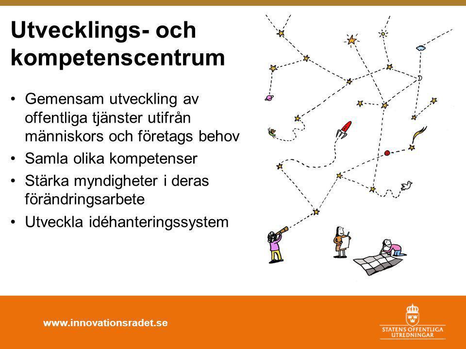 www.innovationsradet.se Utvecklings- och kompetenscentrum •Gemensam utveckling av offentliga tjänster utifrån människors och företags behov •Samla olika kompetenser •Stärka myndigheter i deras förändringsarbete •Utveckla idéhanteringssystem