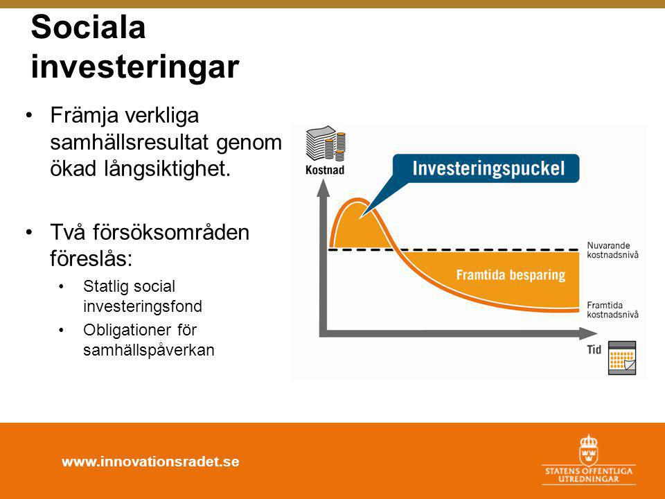 www.innovationsradet.se Sociala investeringar •Främja verkliga samhällsresultat genom ökad långsiktighet. •Två försöksområden föreslås: •Statlig socia