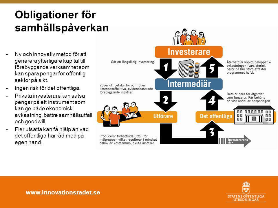 www.innovationsradet.se -Ny och innovativ metod för att generera ytterligare kapital till förebyggande verksamhet som kan spara pengar för offentlig sektor på sikt.