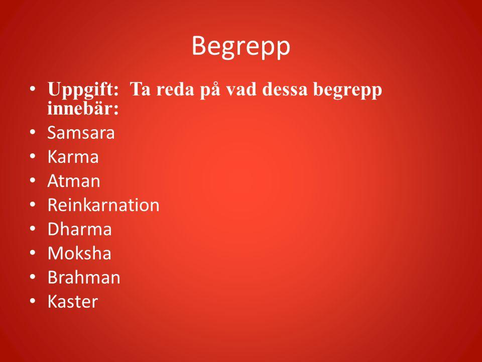 Begrepp • Uppgift: Ta reda på vad dessa begrepp innebär: • Samsara • Karma • Atman • Reinkarnation • Dharma • Moksha • Brahman • Kaster
