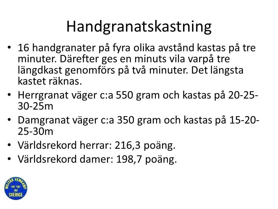 Handgranatskastning • 16 handgranater på fyra olika avstånd kastas på tre minuter. Därefter ges en minuts vila varpå tre längdkast genomförs på två mi