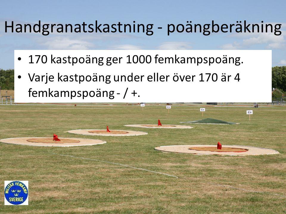 Handgranatskastning - poängberäkning • 170 kastpoäng ger 1000 femkampspoäng. • Varje kastpoäng under eller över 170 är 4 femkampspoäng - / +.