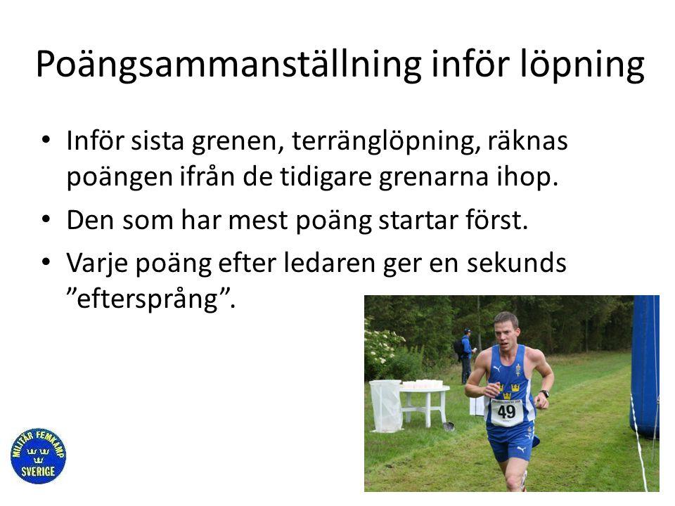 Poängsammanställning inför löpning • Inför sista grenen, terränglöpning, räknas poängen ifrån de tidigare grenarna ihop. • Den som har mest poäng star
