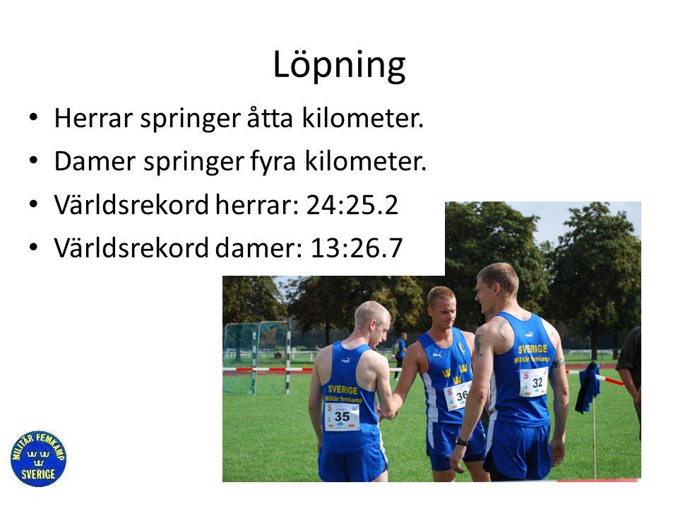 Löpning • Herrar springer åtta kilometer. • Damer springer fyra kilometer. • Världsrekord herrar: 24:25.2 • Världsrekord damer: 13:26.7