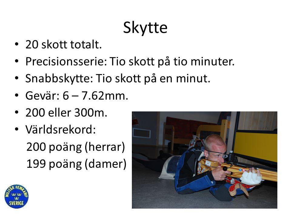 Skytte • 20 skott totalt. • Precisionsserie: Tio skott på tio minuter. • Snabbskytte: Tio skott på en minut. • Gevär: 6 – 7.62mm. • 200 eller 300m. •