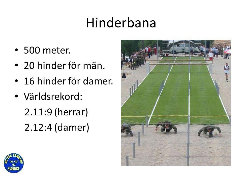 Hinderbana • 500 meter. • 20 hinder för män. • 16 hinder för damer. • Världsrekord: 2.11:9 (herrar) 2.12:4 (damer)