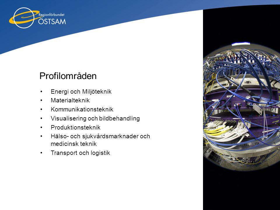 Profilområden •Energi och Miljöteknik •Materialteknik •Kommunikationsteknik •Visualisering och bildbehandling •Produktionsteknik •Hälso- och sjukvårds