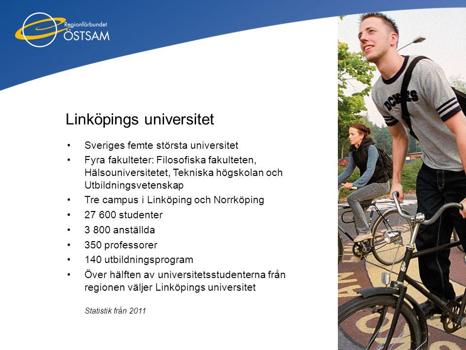 Linköpings universitet •Sveriges femte största universitet •Fyra fakulteter: Filosofiska fakulteten, Hälsouniversitetet, Tekniska högskolan och Utbild
