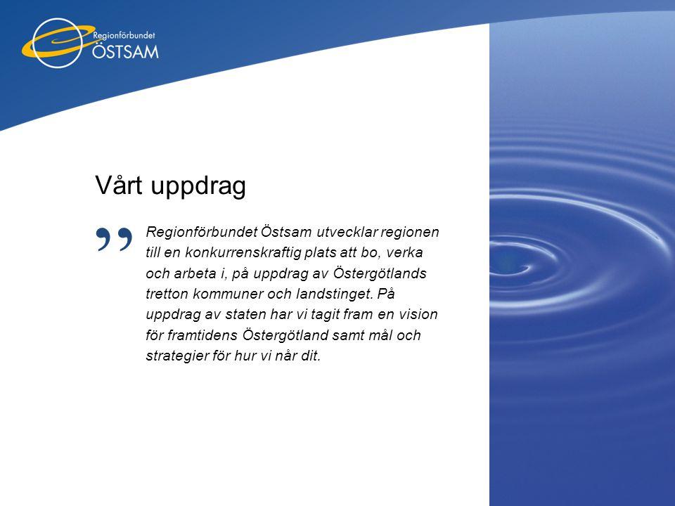 Vårt uppdrag Regionförbundet Östsam utvecklar regionen till en konkurrenskraftig plats att bo, verka och arbeta i, på uppdrag av Östergötlands tretton