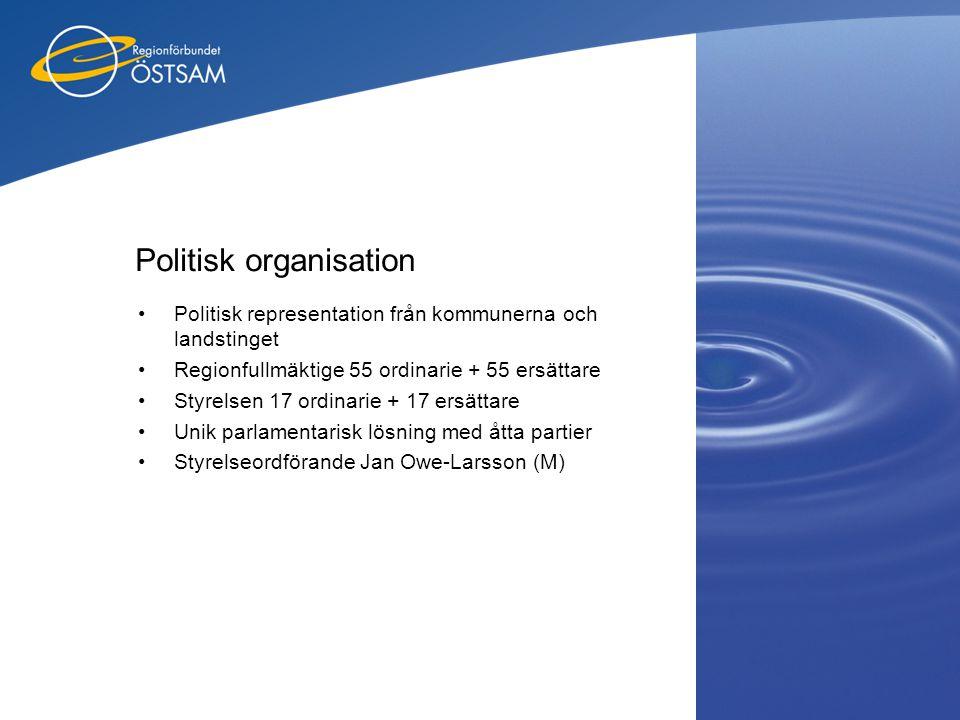 Politisk organisation •Politisk representation från kommunerna och landstinget •Regionfullmäktige 55 ordinarie + 55 ersättare •Styrelsen 17 ordinarie