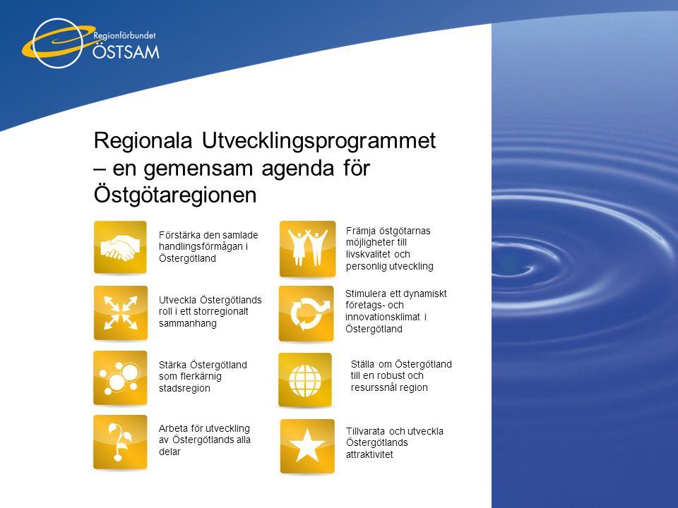 Regionala Utvecklingsprogrammet – en gemensam agenda för Östgötaregionen Utveckla Östergötlands roll i ett storregionalt sammanhang Stärka Östergötlan