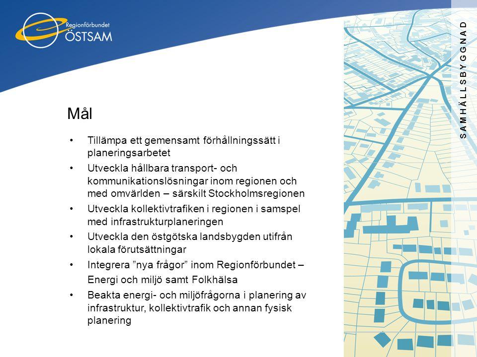 SAMHÄLLSBYGGNAD Mål •Tillämpa ett gemensamt förhållningssätt i planeringsarbetet •Utveckla hållbara transport- och kommunikationslösningar inom region