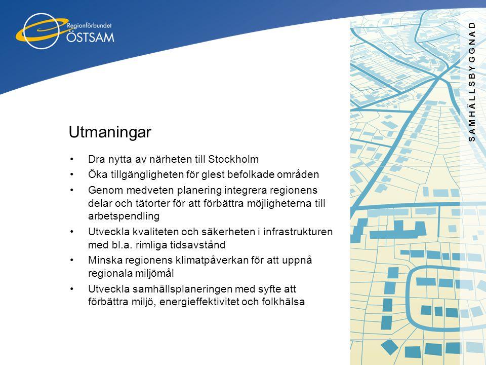 SAMHÄLLSBYGGNAD Utmaningar •Dra nytta av närheten till Stockholm •Öka tillgängligheten för glest befolkade områden •Genom medveten planering integrera