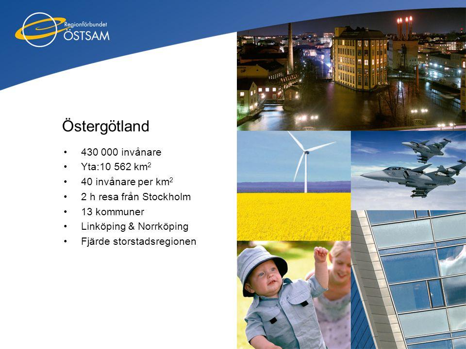 Östergötland •430 000 invånare •Yta:10 562 km 2 •40 invånare per km 2 •2 h resa från Stockholm •13 kommuner •Linköping & Norrköping •Fjärde storstadsr